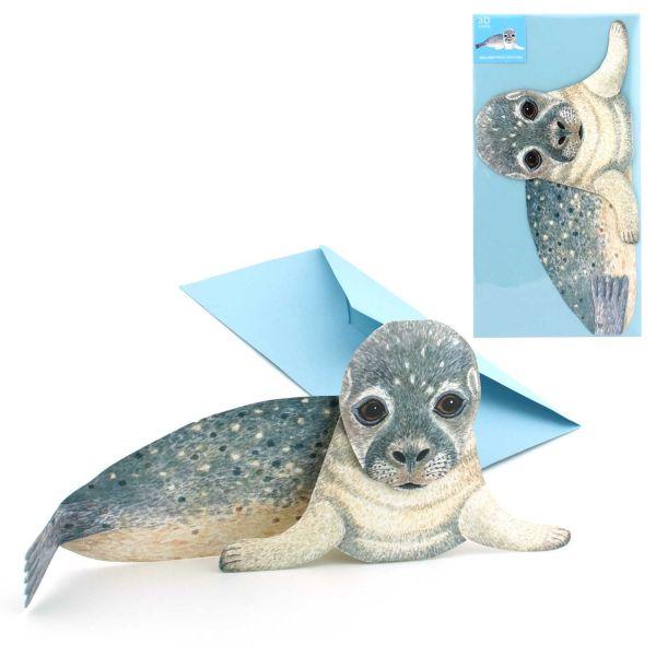 3D-Grusskarte Seehund