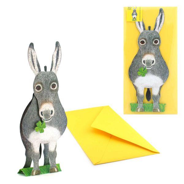 3D-Grusskarte Esel