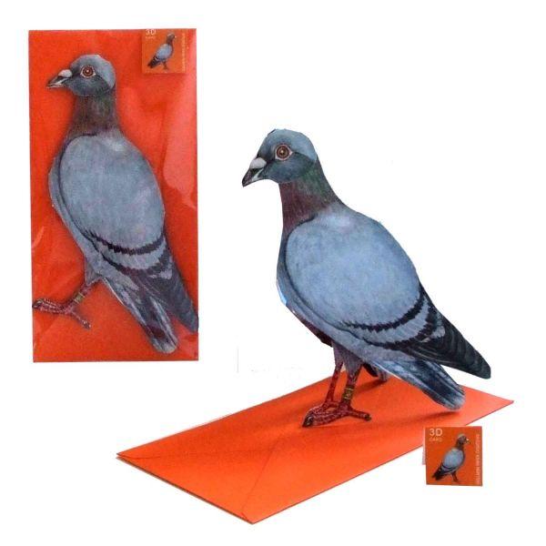 3D-Grusskarte Brieftaube