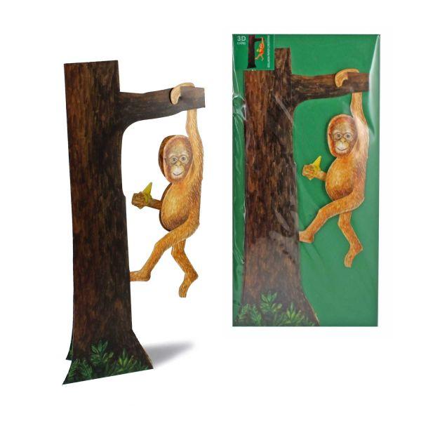 3D-Grusskarte Affe am Baum