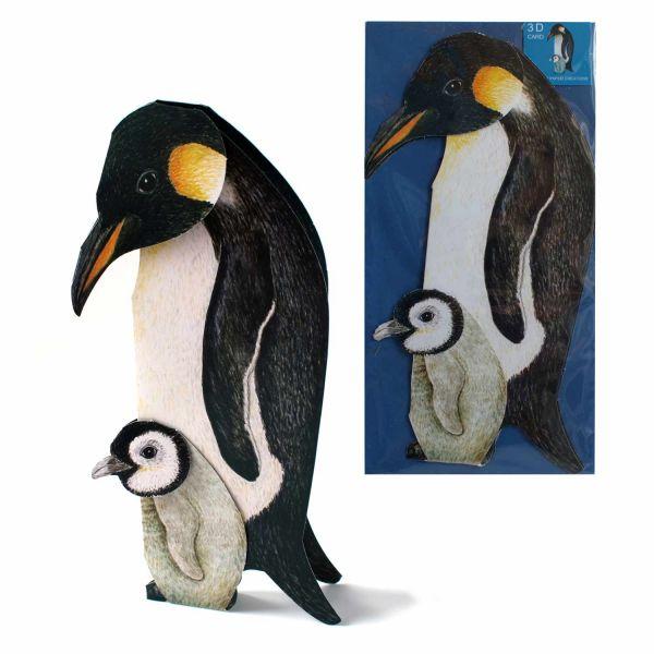 3D-Grusskarte Pinguin mit Küken