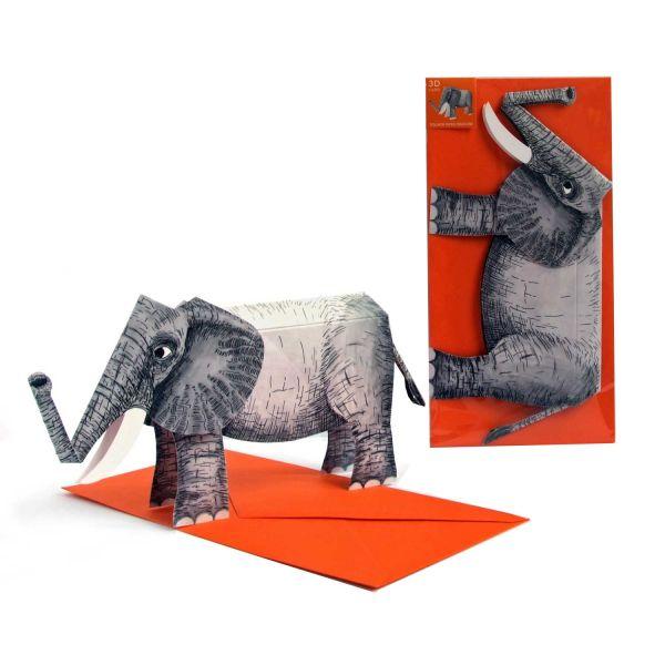 3D-Grusskarte Elefant