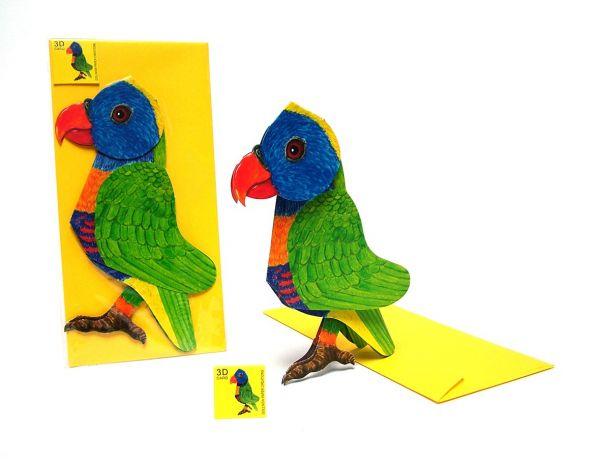 3D-Grußkarte Papagei