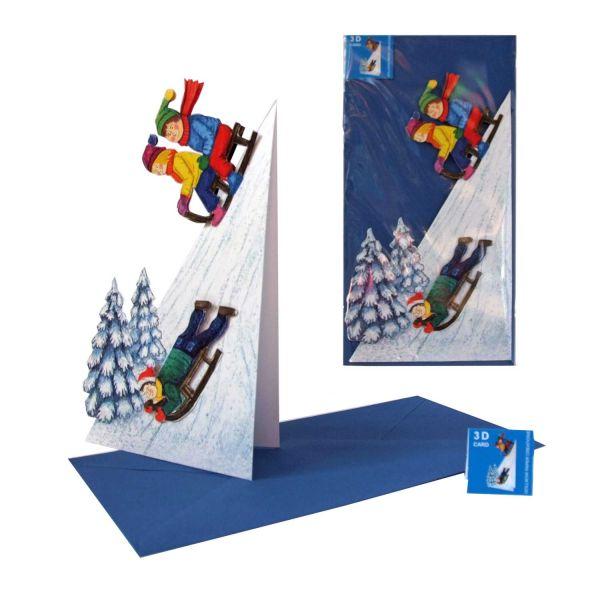 3D-Weihnachtskarte Schlittenrennen