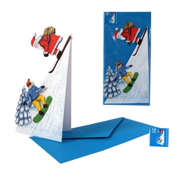 3D-Weihnachtskarte Niko und Snowboarder