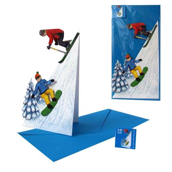 3D-Weihnachtskarte Skifahrer und Snowboarder