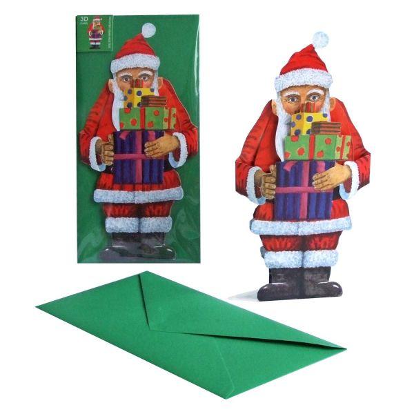 3D-Weihnachtskarte Nikolaus mit Geschenken