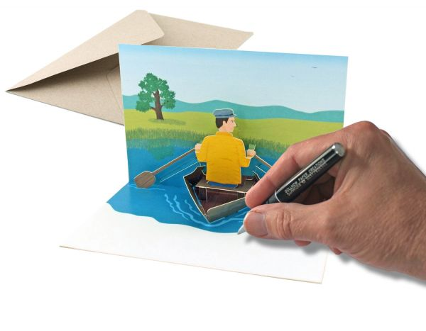 Pop up card of rowing boat