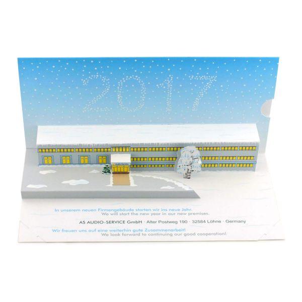 Pop-up-Karte eines Firmengebäudes als Weihnachtskarte