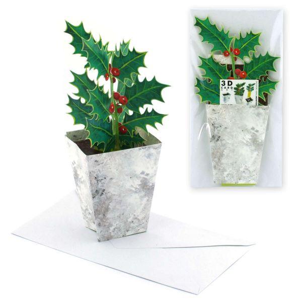 Aufstellbare Weihnachtskarte Ilex