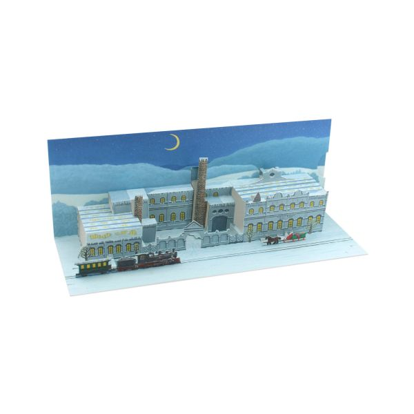 Pop up card of an old company building for christmas