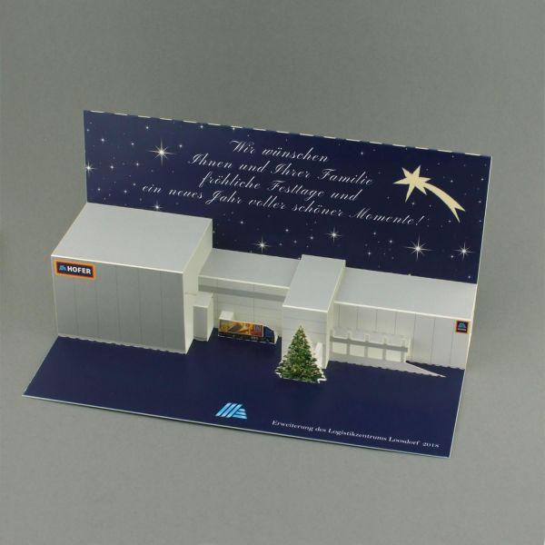 Pop-up-Karte als Weihnachtskarte und Einweihungskarte