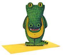 3D-Grusskarte Krokodil