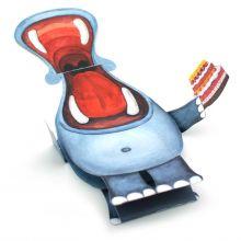 3D-Grusskarte Nilpferd mit Torte