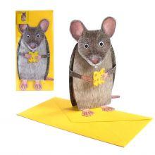3D-Grusskarte Maus mit Käse