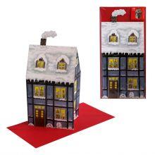 3D-Weihnachtskarte Altes Haus