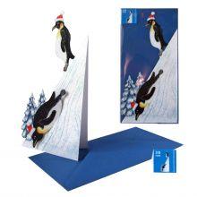 3d-Weihnachtskarte Pinguine am Berg