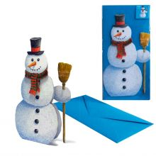 3D-Weihnachtskarte Schneemann