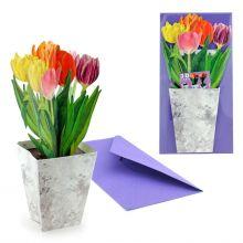 3D-Grusskarte Bunte Tulpen