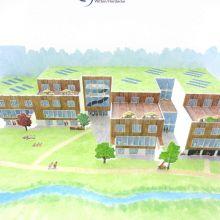 Pop-up-Karte eines geplanten neuen Campusgebäudes